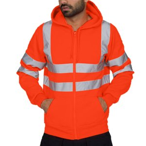 Hoodies Male Fashion Sportswear Men's Sweatshirts Road Work High Visibility Pullover Long Sleeve Tops Blouse Clothes Men