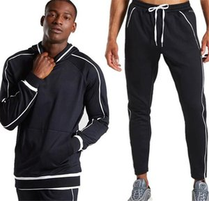 2 قطع رياضية مخصصة الأزياء البلوز فضفاض هوديس طويلة الأكمام الصلبة اللون رياضية رجل عارضة مصمم