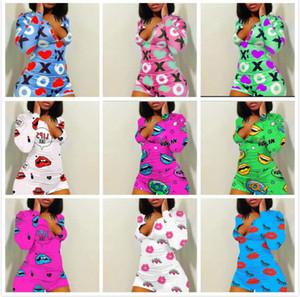 Женщины Комбинезон Rompers Йога Брюки Пижама Дизайнерские Printed V шеи Шорты Брюки женские New Fashion Ночной клуб Плюс Размер одежды 2020