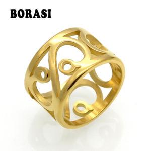 perfil de acero anillo antigüedad de la flor de la vendimia BORASI inoxidable a estrenar anillo para las mujeres joyería de la boda Mujer de compromiso