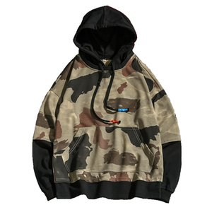 남성 봄 가을 카모 느슨한 조커 자켓 높은 품질 조깅 위장 까마귀 스포츠 탑 셔츠 후드