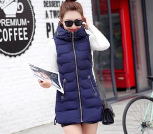 YAGENZ Autumn Winter Womens Vest Long Section Zipper Tops Large Size Women Clothing Hooded Coat Women Fashion Keep Warm Vest00