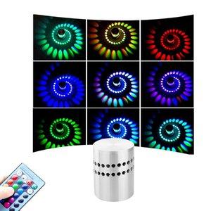 LED Spiral Wall Light 3W mur Éclairage plafond de plafond Atmosphère lumière avec télécommande colorée pour Lobby Bar KTV Home Deco