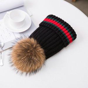 Preciosa diseñador verdadero de la piel bola de la manera linda punto casual caliente de los sombreros de primavera de invierno para hombres mujeres niños