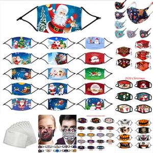 Exprimez-2020 Designer de Noël Halloween débarbouillette PM2,5 Masque Filtre coton Etats-Unis Femme Homme Enfant Mode Lavable Pajama Party Lumious Masque