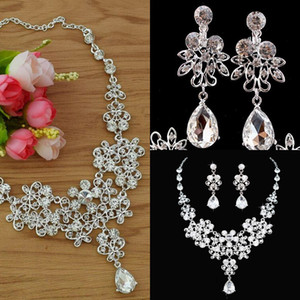 In stock New Bridal Jewelry Set silver plated necklace diamond earrings Wedding jewelry sets for bride Bridesmaids women Bridal Accessories