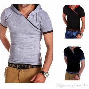 Breathable Summer Mens Tees Casual Teenager T shirt Hypotenuse Zipper Hooded Designer TShirts Fashion