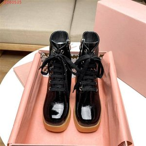 High Platform Pattern Leather Boots for Women Lace-up Short Boots High Heel 75mm Fashion Boots Original packaging