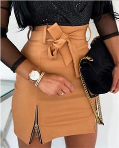 Женщины Кожа PU бинты Bow Юбки с Hip Молнии Sexy Короткие юбки тела Slim Fit Женская мода летние платья