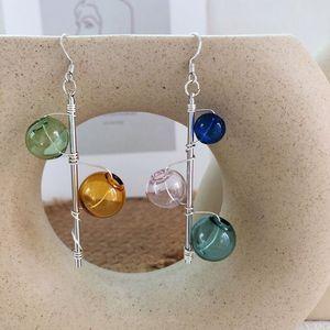 Original Bubbles Dangle Earrings For Women 2020 Hand Blown Glass Ball Knit Korean Long Earrings Jewelry Femme Bijoux Brincos