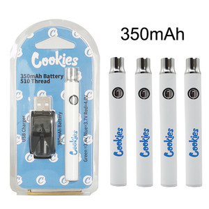 Cookies preriscaldamento Vape Battery Cartridge 350mAh 510 Discussione Vape Penne batteria di tensione regolabili 3.4-4.0V con USB Charger Carts Battries