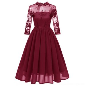 1EDoq 2020 chiffon and summer Embroidered Lace fashion cropped sleeve lace embroidery dress spring large swing jumpsuit bridesmaid dress