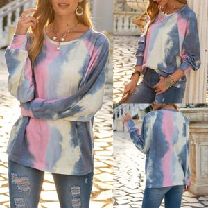 2020 women's new style Fashion round neck pullover tie-dye printing long-sleeved sweater top Elegant casual fashion best-selling