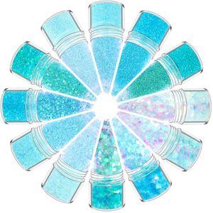 Blue Series Nail Glitter Powder Sequins Mermaid Gradient Ultra-fine Sequin for Spangles Polish Manicure Nail Art Decoration 10ml