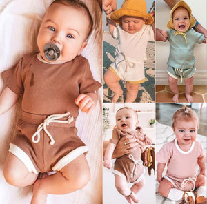 INS New Baby Summer Outfits Fashion Kids Sports Suits Short Sleeve Top+Shorts Baby Boys Girls Casual Clothing Sets Kids Summer Clothes Sets