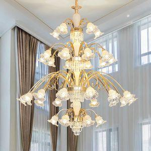 Duplex Building Living Room Golden Large Chandelier Lighting Villa Luxury Crystal Pendant Lamps Hotel Model led Staircase Long Chandeliers