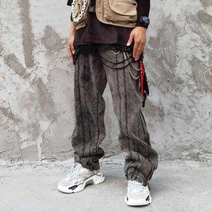 EWQ / HAKA neues Hip-Hop-Mode lose Reißverschluss Hosen breites Bein Denim gerade Hosen 2020 männliche Steigung High Street Jeans