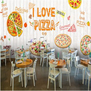 I Love Pizza Theme Mural White Wood Plank Textured Wallpaper 3D Fast Western Restaurant Background Wall Decor Wall Paper