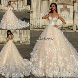Cheap Champagne Gothic Wedding Dresses With Floral Lace Princess Bohemian Rustic Country Style Wedding Dress Long Sleeve Backless Bride Gown