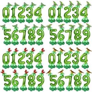 14pcs kids1st 2 3 자 baloons에의 globos 미니 공룡 모양 풍선 디노 생일 풍선 호일 녹색 40inch 번호