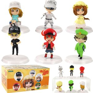 6.5cm--7cm 6pcs set Cells At Work Red White Blood Cell PVC Cartoon Mini Figure Toys Decoration Doll Gifts For Kids