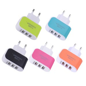 US EU Plug 3 USB Wall Chargers 5V 3.1A LED Adapter Travel Convenient Power Adapter with triple USB Ports Candy Colors