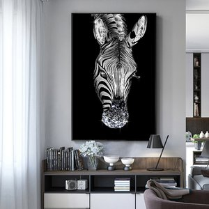 Zebra horse animal decoration picture black white poster nordic wall art canvas print simple modern home living room decoration