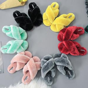 Modische Frauen Cotton Slippers Herbst-Winter-Pelzhausschuhe Damen Plüsch Sandalen Startseite Flip Flops Non-Slip Soft-Bottom Sliders Large Size