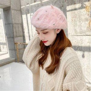 Autumn Winter Hat Women Korean Style Warm Berets Ladies Imitation Pearls Plush Hat Beret Basic Winter Caps