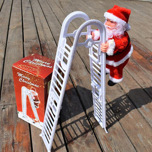 Christmas Santa Claus Electric Climb Double Ladder Hanging Doll Decoration Christmas Ornaments Xmas Toys Kids Gifts Sea Shipping GWD1892