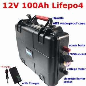Waterproof 12v 100AH lifepo4 battery with 2 usb sport echargeable for UPS electric car triciclo electrico Inverter