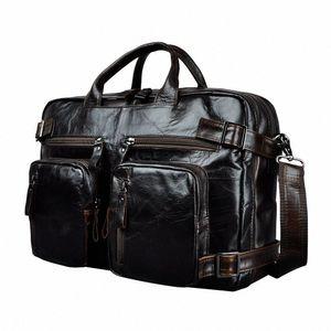 Genuine Leather Man Design Multifunction Purpose Maletas Maletin Business Briefcase 15 Laptop Bag Tote Portfolio Bag K1013 Metal Brief u4HM#