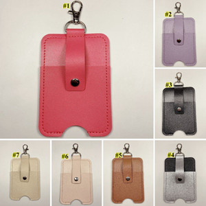 Portable Keychain Hand Sanitizer Holder PU Leather Case Key Chains Pink Khaki Travel Outdoor Key Chain for Reusable Bottle KHA722