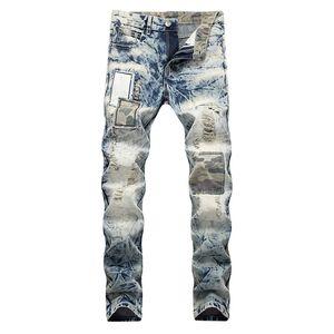annata neve patchwork lavato MORUANCLE uomini di jeans strappati mendicante Camouflage patch fori angosciato pantaloni denim diritti sottili