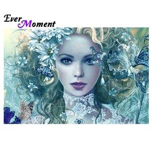 Alguna vez Momento diamante Pintura hecha a mano de bricolaje 5D mujer máscara cuadrada completa Taladro Mosaico Cuadro De La imitación de diamante bordado 3F1936 0924