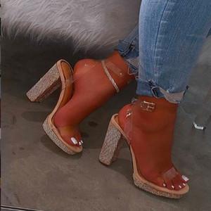 Women Block Heel Sandals Pumps Patent Leather Dress Shoes 2020 High Heels Boat Shoes Rhinestones Transparent Summe