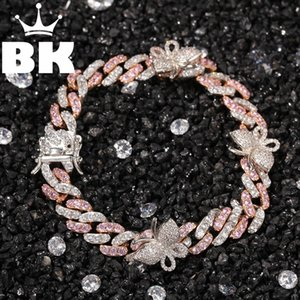 Hip Hop Copper 9mm Micro Pave CZ Cuban Link Bracelet with Small Butterfly 9inch ankle Punk Miami Bracelet accept custom color