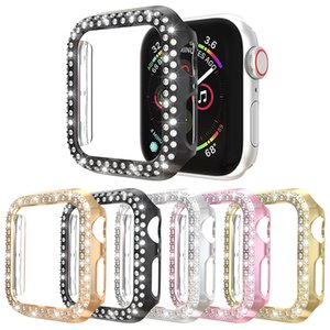 Luxury Two Rows Diamond Women PC Protect Cover for Iphone Watch Case Series 5 4 3 Fashion Bling Bumper 40 44 38 42mm Accessories
