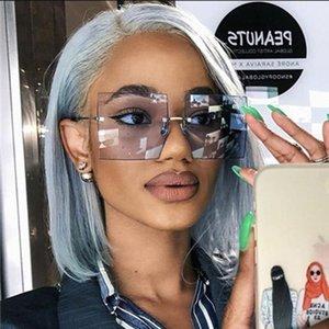 Sunglasses 2021 Fashion Big Rimless Women Vintage Trendy Designer Ladies Sunglass Oversized Tinted Eyewear