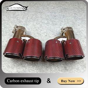 زوج واحد في 63MM 89MM OUT H نمط من ألياف الكربون عوادم المزدوج نصائح، أحمر الكربون العادم الذيل النهاية المزدوجة الأنابيب