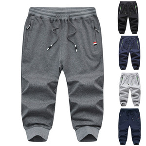 Fashion Brand Mens Short Pants Summer Casual Sport Drawstring Thin Cropped Trousers Knit Black Male Fitness Gyms for workout
