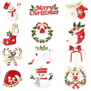 Nuovo Natale Spilla Natale calze lega pendente campana Spilla vecchio alce Snowman cappello calzino Spilla