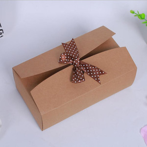 31.5*17.5*10.5cm Large Present Box with ribbon Brown Kraft Paper Boxes Scarf Package Gift Box Wedding Party 15Pcs