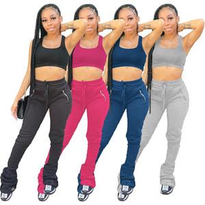 Kadınlar Yüksek Bel Sweatpants Pileli Koşucular 2020 Elastik Yığın Tozluklar Hem Flare Dantelli Pantolon Bölünmüş Bell Alt Pantolon GL975