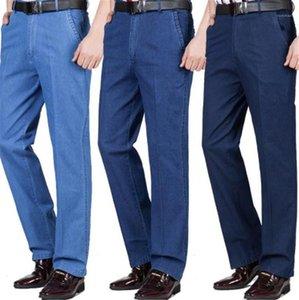 Jeans para hombre de alta cintura floja de negocios casual de mezclilla azul pantalones largos y rectos Jeans para hombre de la cremallera Lavado Regular