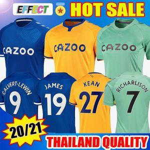 2020 2021 Everton JAMES Camisetas de fútbol KEAN RICHARLISON GOMES KEANE BERNARD WALCOTT TOSUN DELPH 20/21 Jersey Camisetas de fútbol Kit Soccer Jerseys