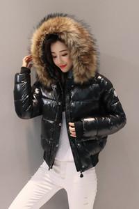 Modernen Frauen kurze, dicke, hell-faced Daunenjacke Mantel Mantel mit großem Pelzkragen Daunenjacke Baumwolle gefütterte Jacke für Damen