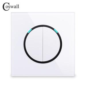 Coswall 유리 패널 2 명 2 웨이 임의의 LED 표시 등 R11 시리즈를 스위치 벽 라이트 스위치를 통해 온 / 오프 패스를 클릭