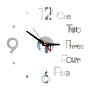 Office Wall Clock Living room 3D Mirror Surface Sticker Decal DIY Large