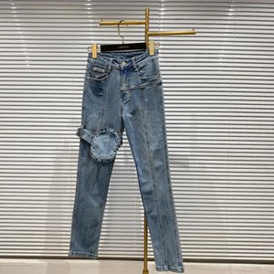 2020 Autumn new knee denim jeans leg bag design elastic slim wash denim pants women's fashion